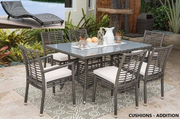 STERLING PLUS PATIO - PLR-PJO-1601 - 6  WEATHER WICKER TABLE AND 6 CHAIRS