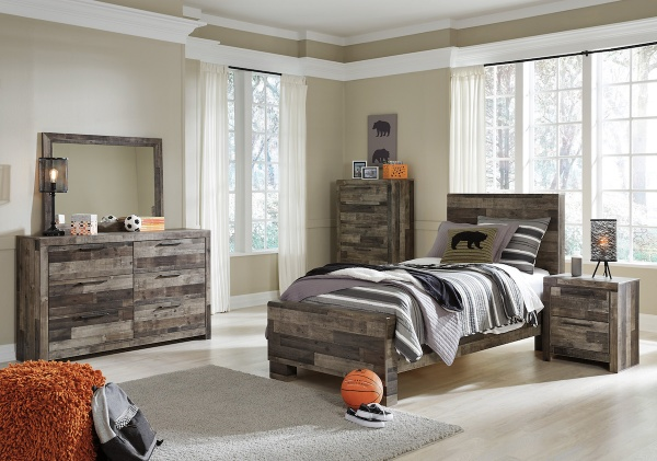 executive secondary suites featuring multicolored wood furniture set with grey accents and bedding with a sports theme