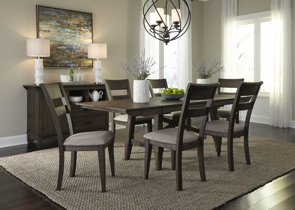 executive dining room featuring brown wooden dining room table with six wooden chairs with beige seats
