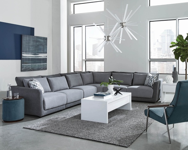 EXECUTIVE L/R LIGHT GREY/DARK GREY SOFA SECTIONAL - INCLUDED ARE LAF CHAIR, RAF CHAIR, ARMLESS CHAIRS - COA COLLECTION
