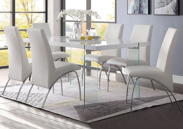 EXECUTIVE DININGROOM - ACME - 72188 / 71107 - 36X60 WHITE DINING TABLE WITH (6) CHROME SIDE CHAIRS WITH WHITE PU - PERVIS COLLECTION.