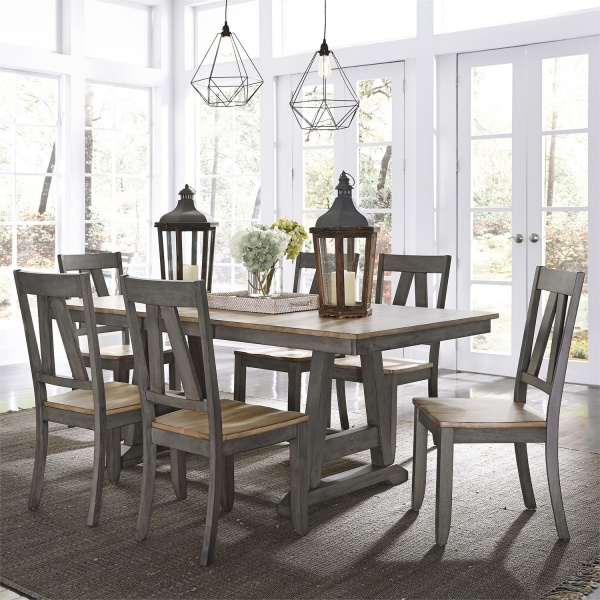LIBERTY GREY-SANDSTONE FINISH TRESTLE DINING TABLE WITH (6) SADDLEBACK DINING CHAIRS - 62-LINDSEY FARM COLLECTION