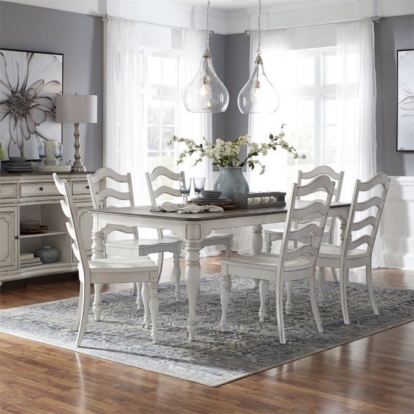 LIBERTY 7-PC WARM ANTIQUE FINISH/DISTRESSED DINING TABLE W/ 6 SLATBACK SIDE CHAIRS - 244-MAGNOLIA MANOR COLLECTION