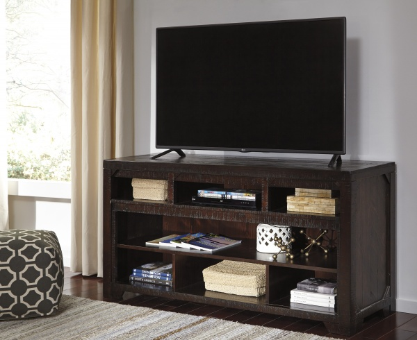 sterling plus entertainment featuring dark brown wooden tv stand with flatscreen tv