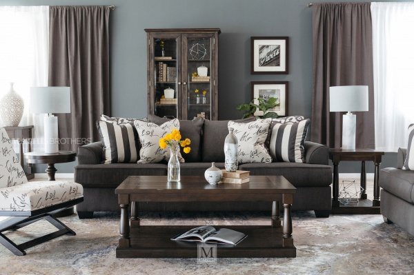 Sterling Plus - Living Rooms - ASHLEY - 73403 Contempory Sofa, Love Seat and Chair.