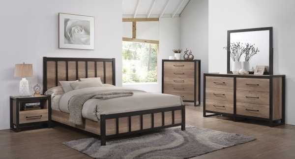sterling plus master suite featuring light brown wood bedroom set with cream accents and bedding