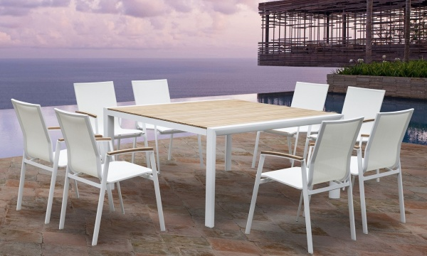 """EXECUTIVE - PATIO - WTL-CANNE 60"""" X 60"""" TABLE / CANNE ARM CHAIRS"""
