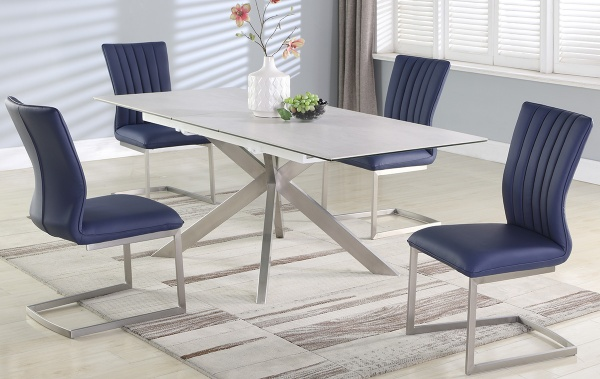 EXECUTIVE DINING - 35X79 TEXTURED CERAMIC DINING TOP WITH POP-UP EXTENSION, DOUBLE X-SHAPED BASE - NALA COLLECTION. SHOWN WITH ELLEN BLUE CHANNEL BACK SIDE DINING CHAIRS - CHI