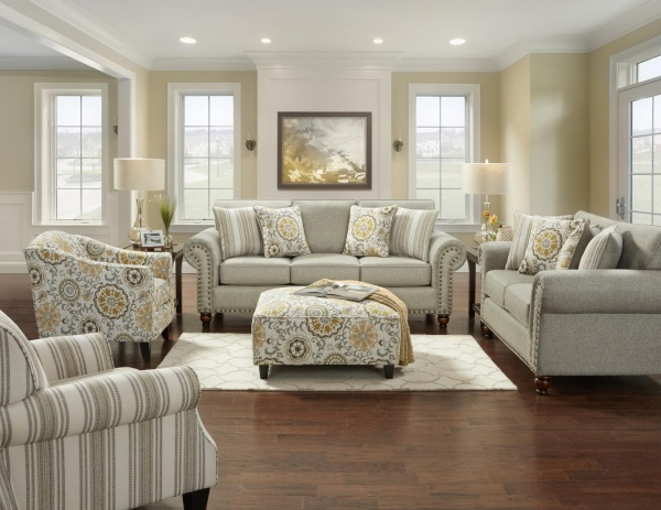 STERLING PLUS - LIVING ROOMS - FUSH-3100 - ROMERO STERLING - SOFA, LOVE SEAT, ACCENT CHAIRS AND OTTOMAN.