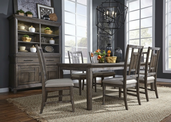 sterling plus dining room featuring brown wooden table with six wooden chairs