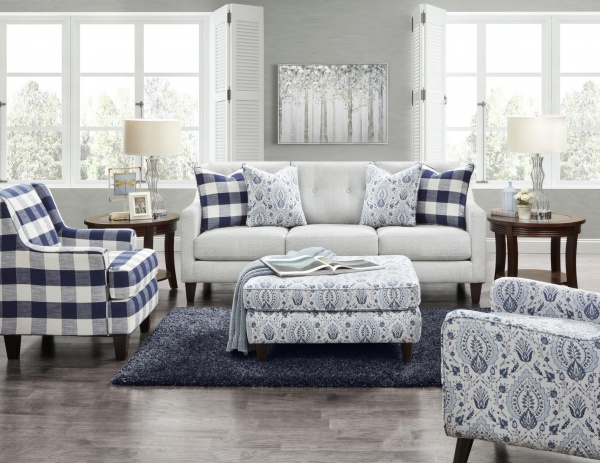 STERLING PLUS - LIVING ROOMS - FUSH-3280B  TAMPA ICE - SOFA, LOVE SEAT, CHAIR AND OTTOMAN.