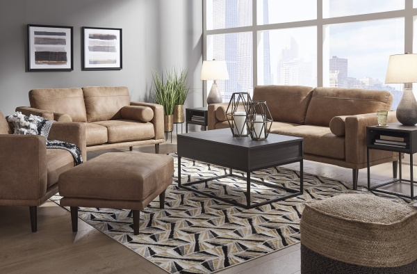 Sterling Plus - Living Rooms - Ashley - 894901 - Ashley - Light Brown Leather Look Sofa, Love Seat, Chair and Ottoman.