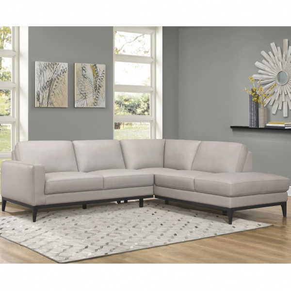 Sterling Plus - Living Rooms - Home Elegance - 9557 GY - Light grey leather match RAF Chaise Sectional.