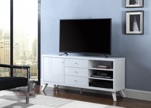 sterling plus entertainment featuring white wooden tv stand with flatscreen tv
