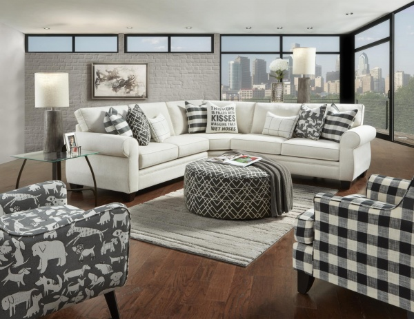 STERLING PLUS - LIVING ROOMS - FUSH-1170 POPSTICH TRANSITIONAL SECTIONAL.