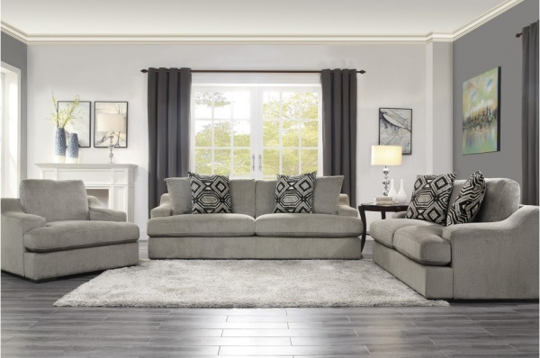 EXECUTIVE L/R GREY PLUSH VELVET SOFA, LOVESEAT, CHAIR. 