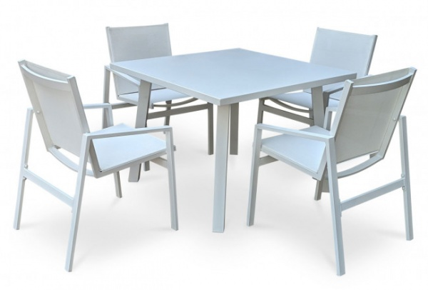 EXECUTIVE - PATIO - PLR-PJO-2401-4  MYKNOS - WHITE- TABLE AND 4 CHAIRS.