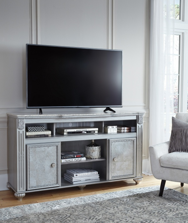 sterling plus entertainment featuring classic looking grey entertainment center with flatscreen tv