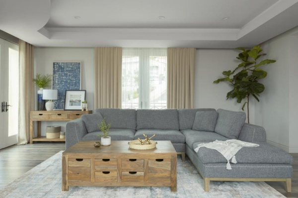 STERLING PLUS - LIVING ROOMS - COA-508857  CONTEMORY GREY SECTIONAL.