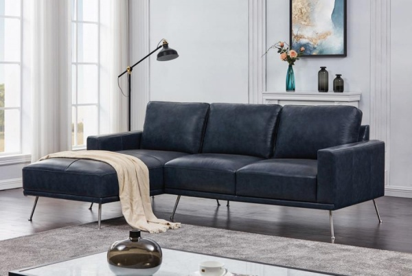 STERLING PLUS - LIVING ROOMS - COA-508800  - Navy Blue Leather Look Sectional.