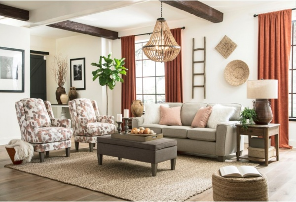 EXECUTIVE L/R - CUSTOM SOFA WITH TWO ACCENT CHAIRS, OCCASIONAL TABLES, AND RUG.. SOFA ANNABEL COLLECTION - BCH.