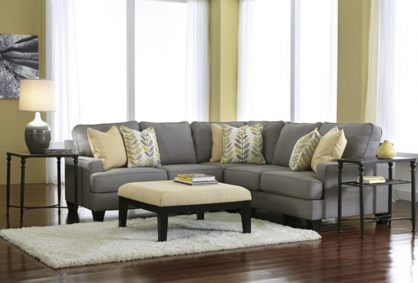 Sterling Plus - Living Room - Ashley - 24302 3 Pc. Grey / Yellow Sectional.
