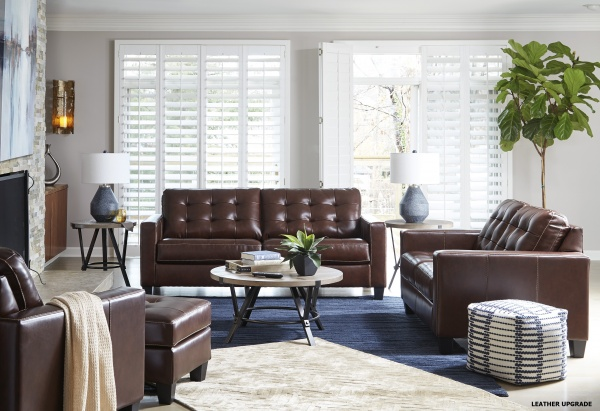 Sterling Plus - Living Rooms - Ashley - 87504 - Queen Sleeper- Sofa - Love Seat - Chair - Dark Brown - Leather Match.