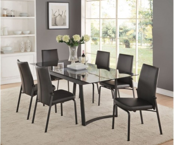 ACME - 38X79 BLACK BASE WITH SMOKY GLASSTOP TABLE.  COMES WITH (6) BLACK PU UPHOLSTERED SIDE CHAIRS - OSIAS COLLECTION.