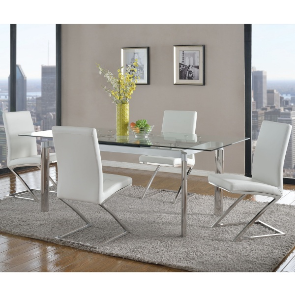 """STERLING PLUS DINING - 35X79 METAL AND GLASS EXTENDABLE DINING TABLE - TARA COLLECTION SHOWN WITH """"Z"""" FRAME CONTEMPORARY WHITE DINING CHAIRS - JADE COLLECTION - CHI."""