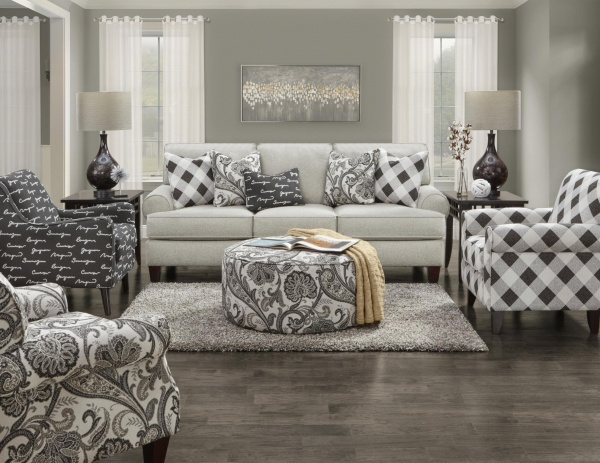 STERLING PLUS - LIVING ROOMS - FUSH-4201  SHADOWBOX DOVE SOFA, LOVE SEAT, ACCENT CHAIRS, AND OTTOMAN.