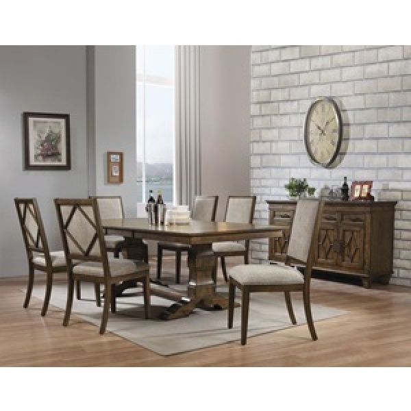 ACME - 42X90 OAK FINISH RECT DINING TABLE WITH (6) UPHOLSTERED LATTICE BACK CHAIRS - AURODOTI COLLECTION