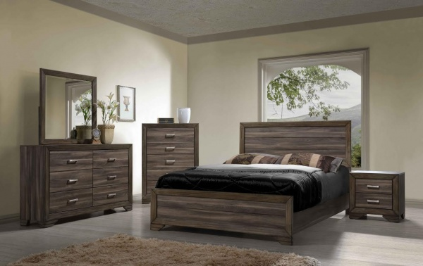 sterling plus master suite featuring all wooden bedroom set with grey and light brown accents and bedding