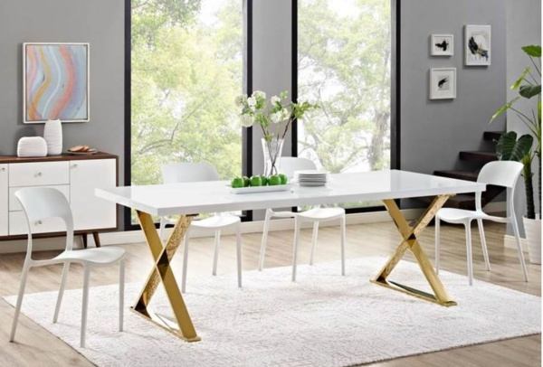 MDU - 86X39X30 RECT WHITE HIGH GLOSS DINING TABLE W/GOLD METAL DINING BASE -SECTOR COLLECTION WITH (6) WHITE DINING CHAIRS - HOP