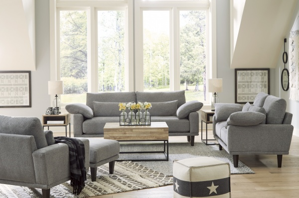 Sterling Plus - Living Rooms - Ashley - 91701 - Retro Grey Sofa - Love Seat, Chair and Ottoman.