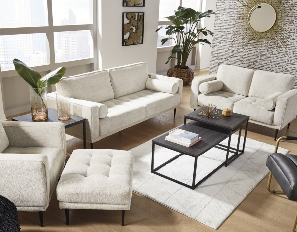Sterling Plus - Living Rooms - Ashley - 90804 - Beige Retro - Sofa, Love Seat, chair and Ottoman