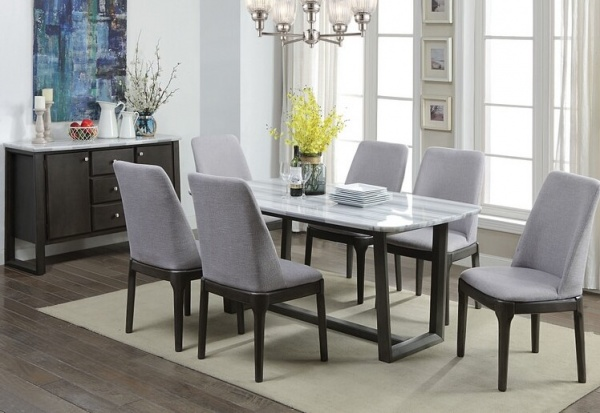 EXECUTIVE DININGROOM - ACME - 73170 / 73172 - 40X72 MARBLETOP DINING TABLE W/ GREY OAK BASE.  CHAIR HAS GREY OAK BASE WITH GREY LINEN UPHOLSTERY.