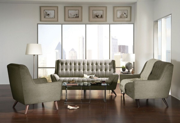 sterling plus living room featuring beige retro couches and chairs with hardwood floor