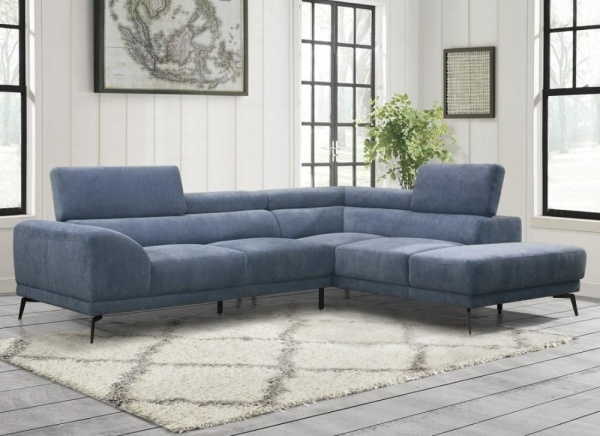 Sterling Plus - Living Room - Home Elegance - 9409 BUE - Blue Micro Fiber - RAF Chaise Sectional.
