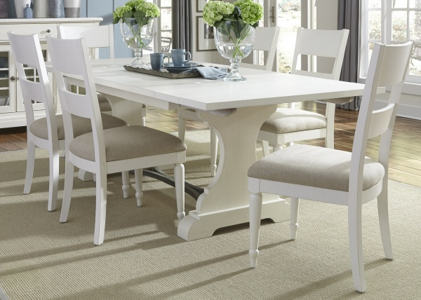 executive dining room featuring white wooden table with six white wooden chairs with beige seats