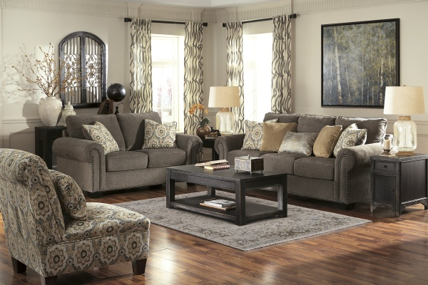 Sterling Plus - Living Rooms - Ashley - 45600 - Dark Brown - Transitional Sleeper, Sofa, Love Seat and chair.