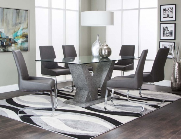 executive dining room featuring glass top table with grey leather dining chairs with metal legs