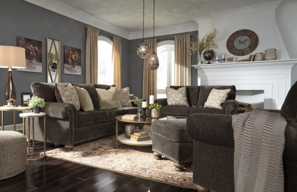 Sterling Plus - Living Rooms - Ashley - 80603 - Dark Brown Queen Sleeper, Sofa, Love Seat and Chair.