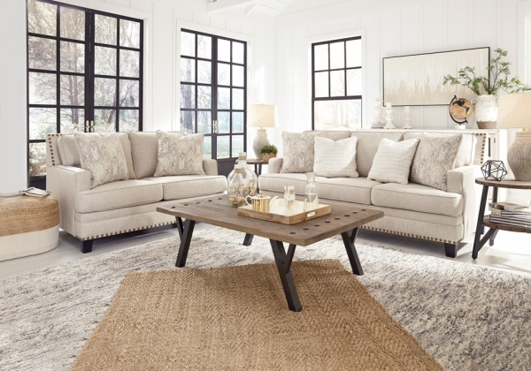 Sterling Plus  - Living Rooms - Ashley - 15602 Sofa and Love Seat - Transitional - Neutral beige fabric.