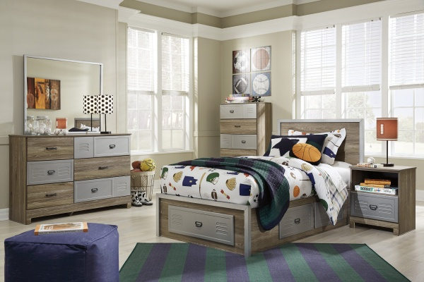 sterling plus secondary suite featuring brown and grey wooden bedroom set with blue and green accents and sports theme