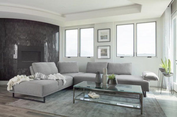 STERLING PLUS - LIVING ROOMS - COA-508888  MODERN SECTIONAL - GREY.