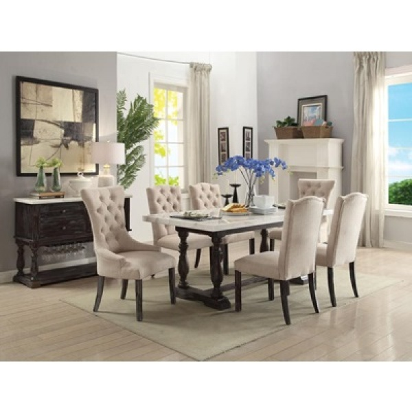 ACME - 72X38 MARBLETOP TABLE W/ WEATHERED ESPRESSO LEGS, (6) UPHOLSTERED DINING CHAIRS (BEIGE LINEN) - GERARDO COLLECTION