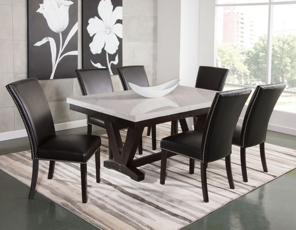 """SS 72"""" MARBLETOP RECT DINING TABLE WITH (6) BLACK NAILHEAD SIDE CHAIRS - FINLEY COLLECTION"""