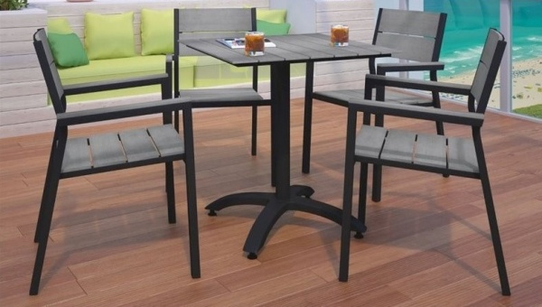 EXECUTIVE - PATIO - MOD-EEI-1761- BRN/GRY   TABLE / 4 CHAIRS - BROWN / GRAY.