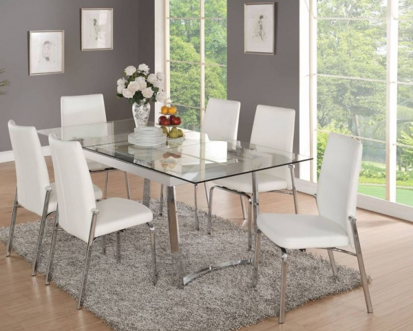 ACME - 38X79 GLASSTOP DINING TOP W/METAL BASE.  COMES WITH (6) WHITE PU UPHOLSTERED DINING CHAIR - OSAIS COLLECTION.