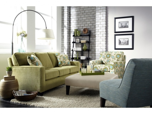 EXECUTIVE L/R - GREEN CUSTOM SOFA - ANNABEL COLLECTION, WITH (2) ACCENT CHAIRS AND CUSTOM OTTOMAN.